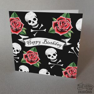 skulls and roses card