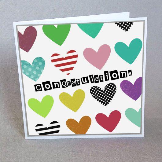 Congratulations Card Rainbow Hearts