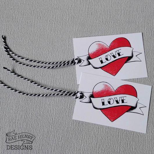 Tattoo Heart Gift Tags