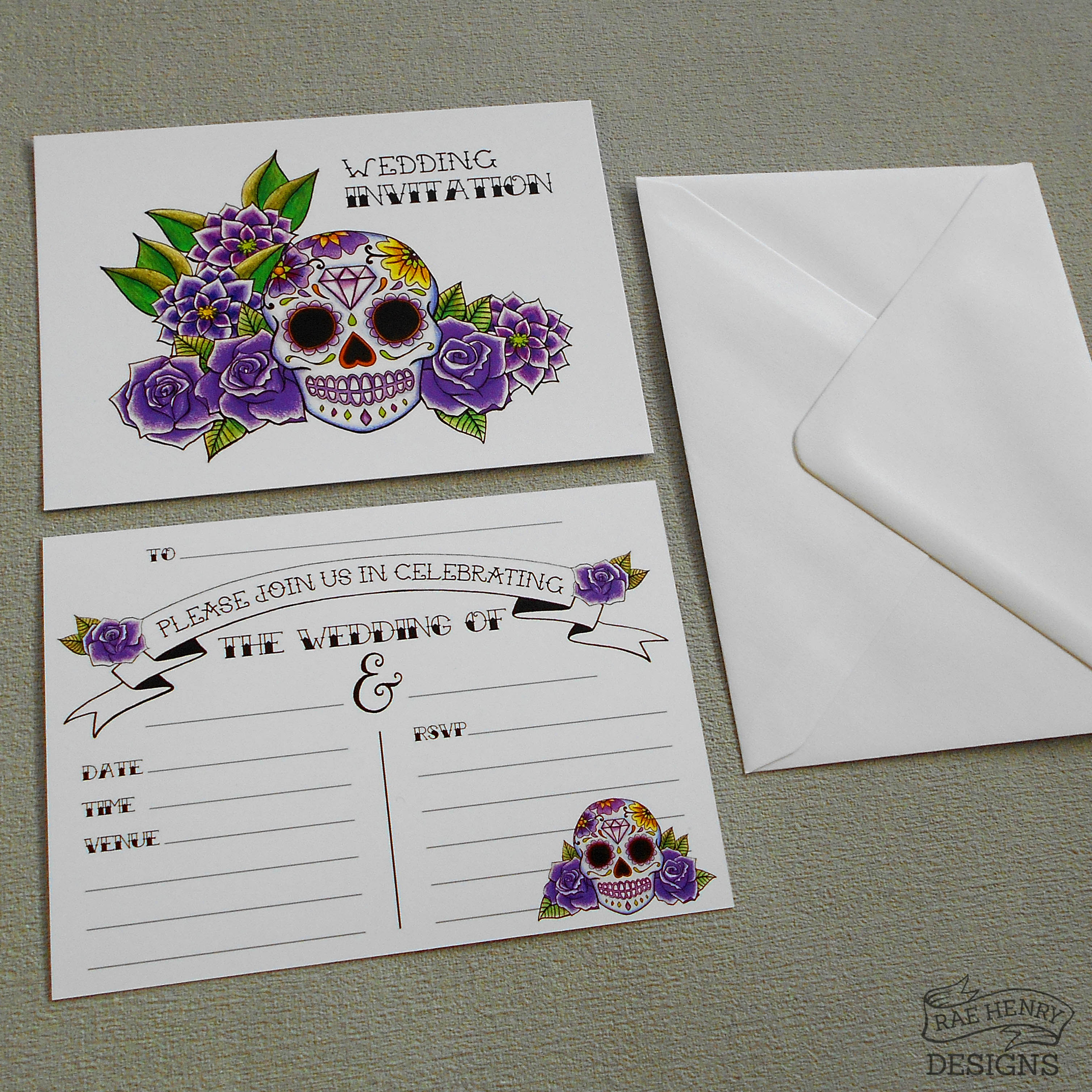 Sugar Skull Wedding Invitations Purple