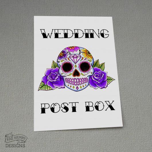 Sugar Skull Wedding Postbox Sign