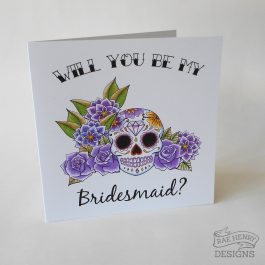 Sugar Skull Bridesmaid Card