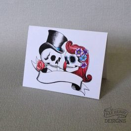 rockabilly skulls place card