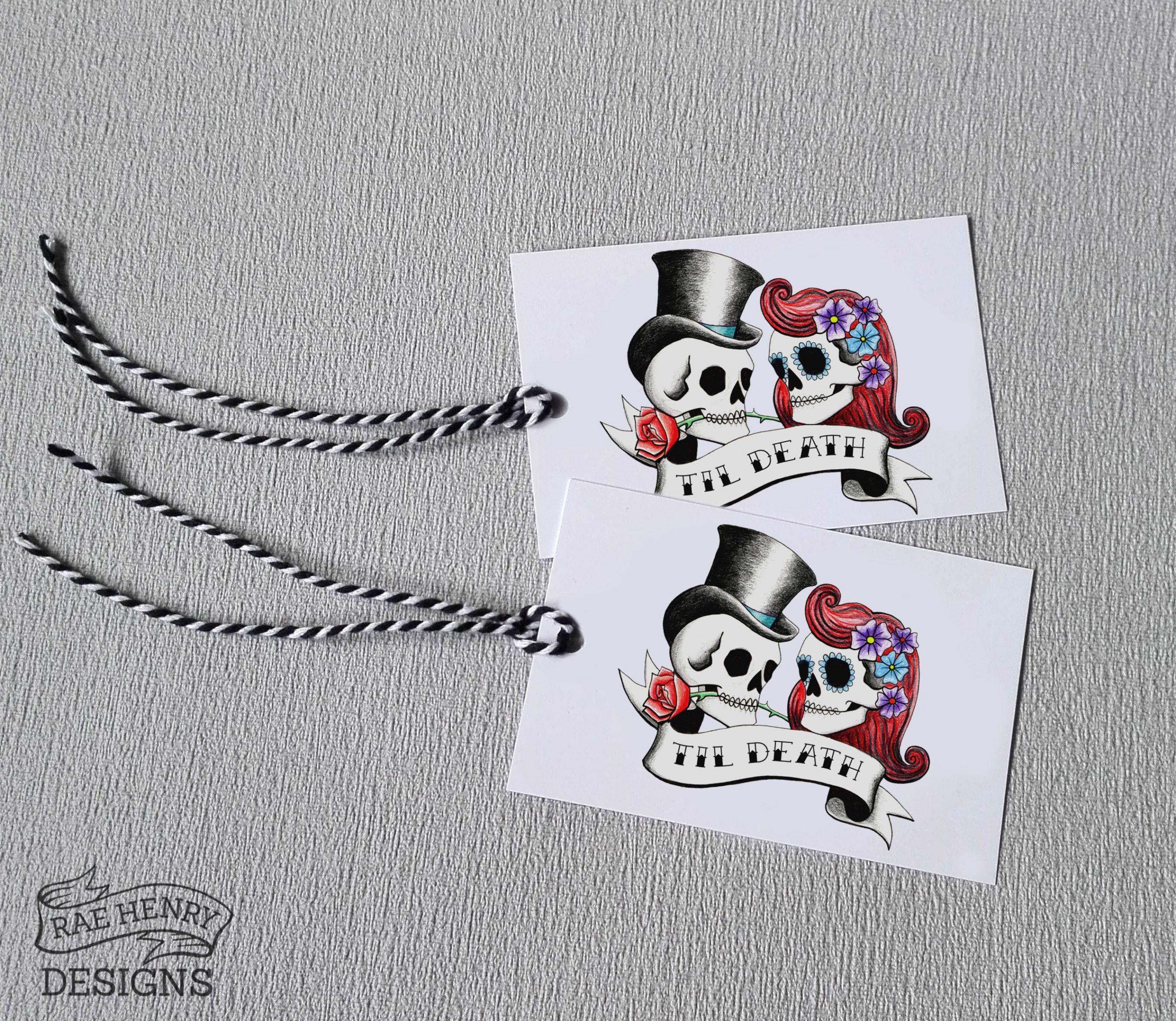 Rockabilly skulls gift tags