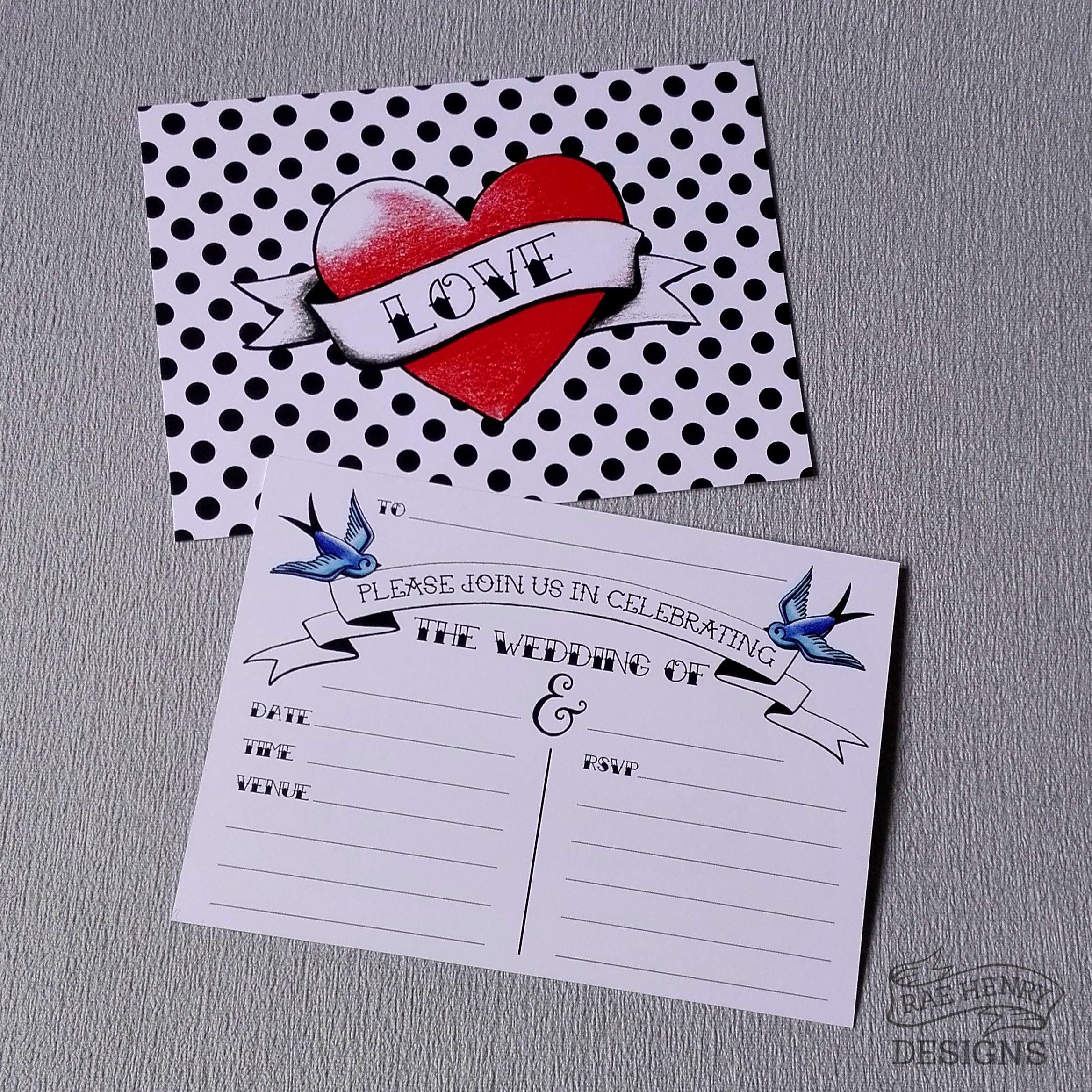 tattoo heart wedding invitations