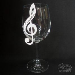 treble clef wine glass place card