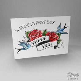 Tattoo Style Wedding Postbox Sign