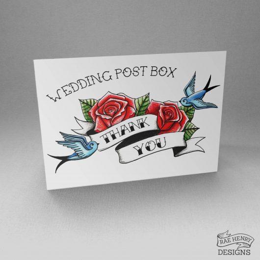 Tattoo Style Wedding Postbox Sign