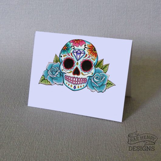 Sugar Skull Place Cards Blue