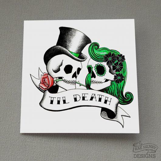 Rockabilly Skulls Card Til Death