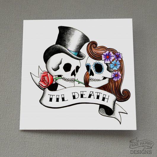Til Death Rockabilly Skull Card