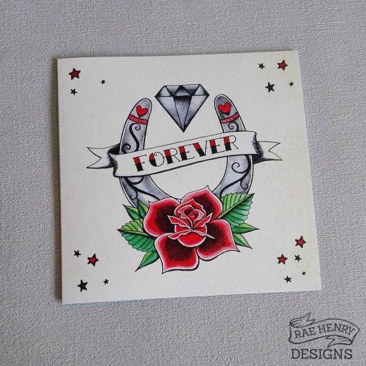 Traditional tattoo wedding card