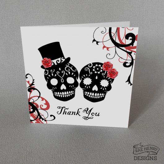 Skulls Wedding Thank You Card