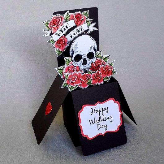 Skull & Roses Pop Up Wedding Card