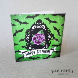 bats cameo birthday card