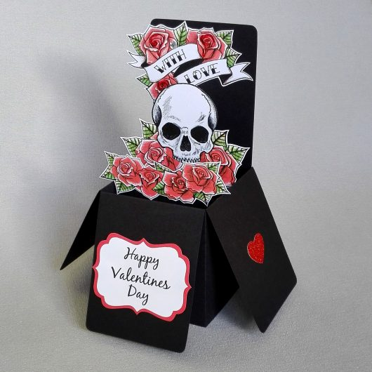 Skull & Roses Pop Up Valentine Card
