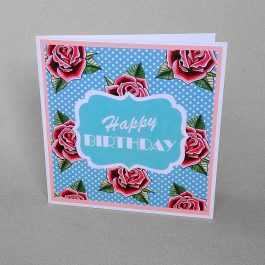 Retro Rose Birthday Card
