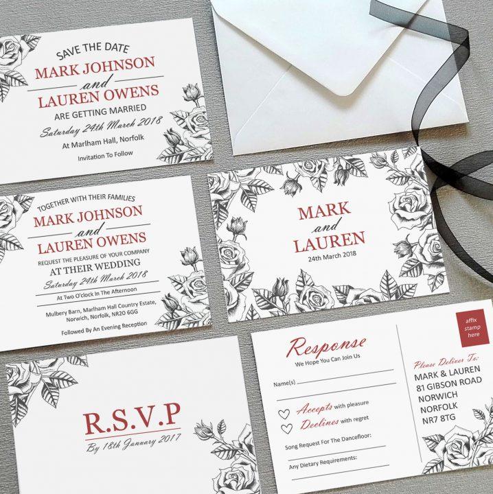 botanical rose invitations