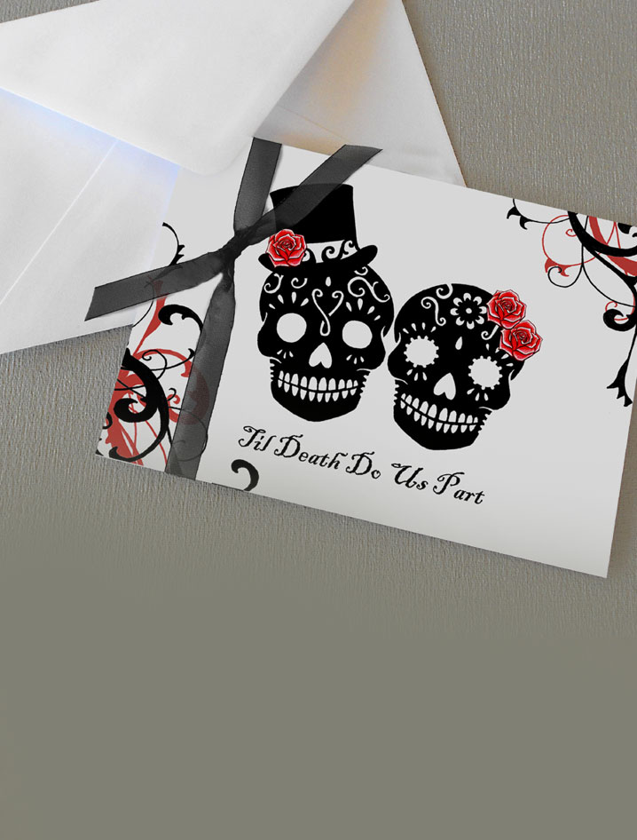 skull wedding invitations