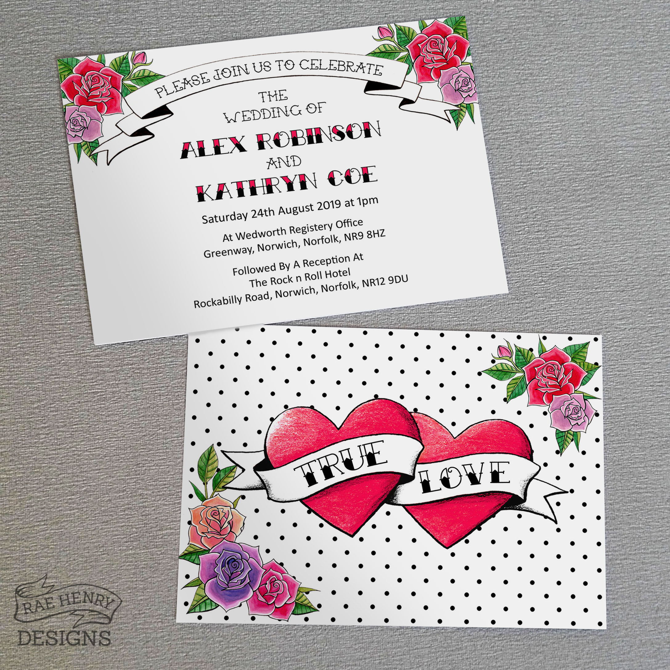 tattoo hearts invitations