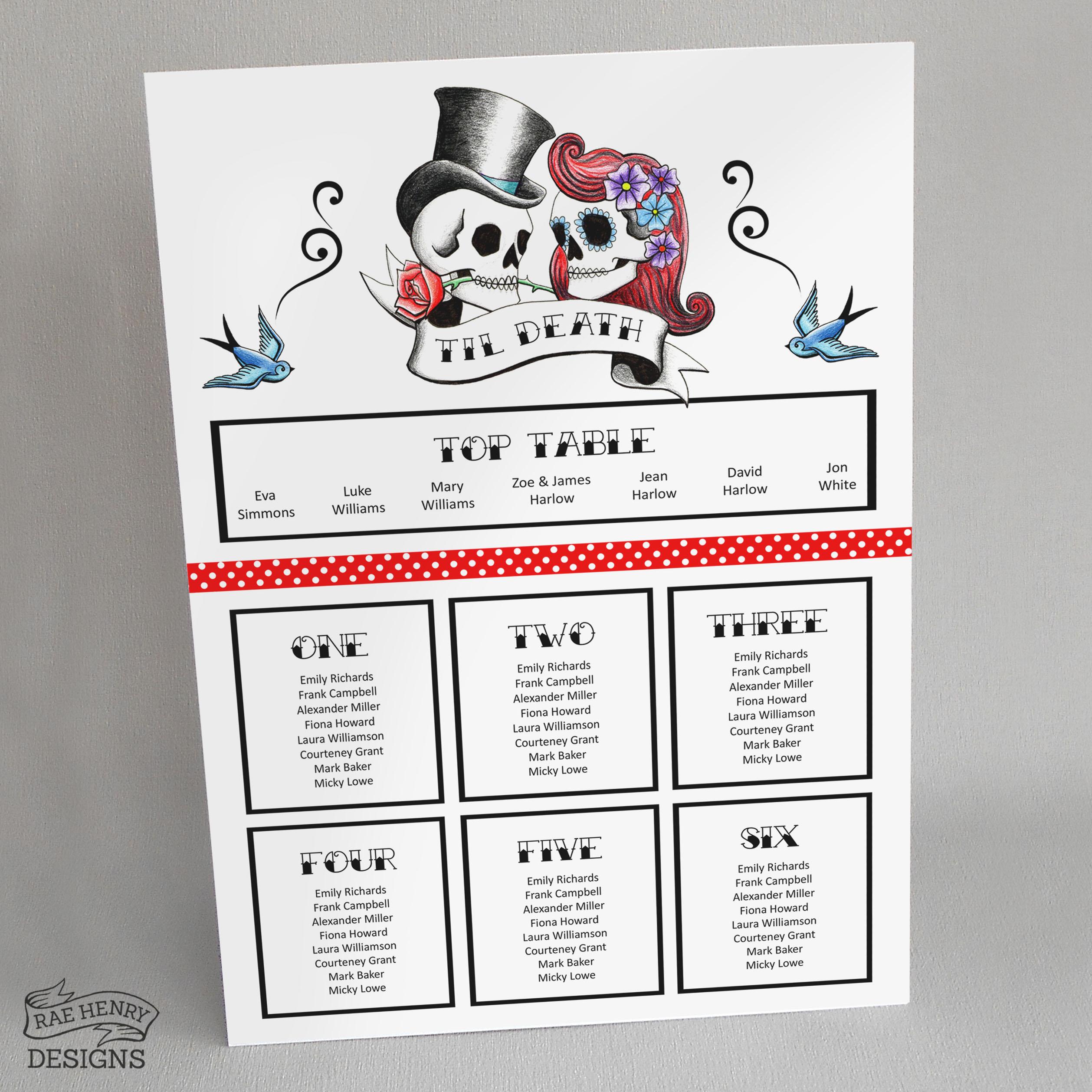 Rockabilly Skulls Table Plan A3