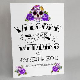 Purple Sugar Skull Wedding Welcome Sign