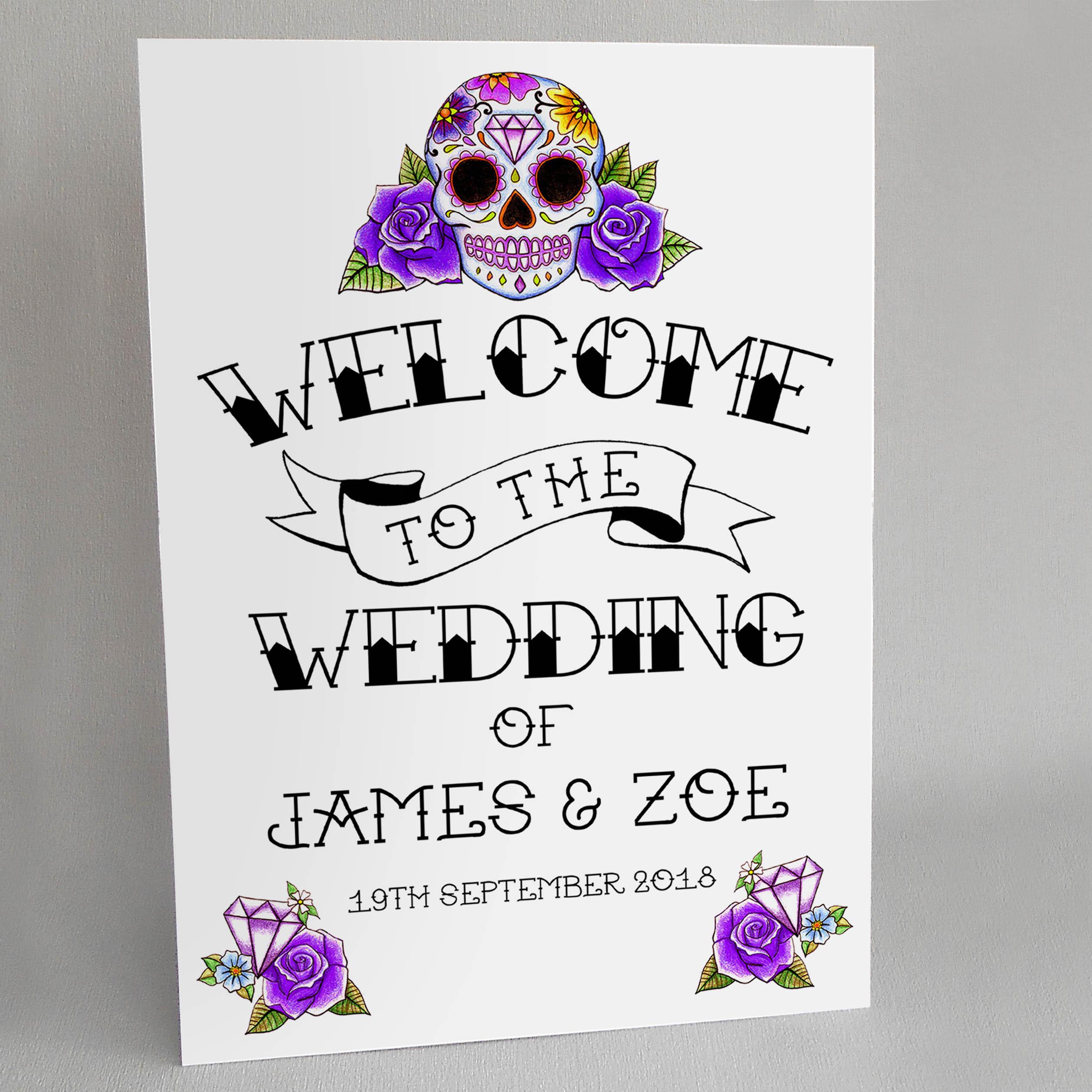 Purple Sugar Skull Wedding Welcome Sign