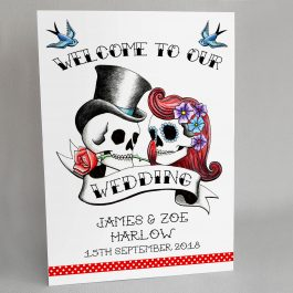 Rockabilly Skulls Wedding Welcome Sign