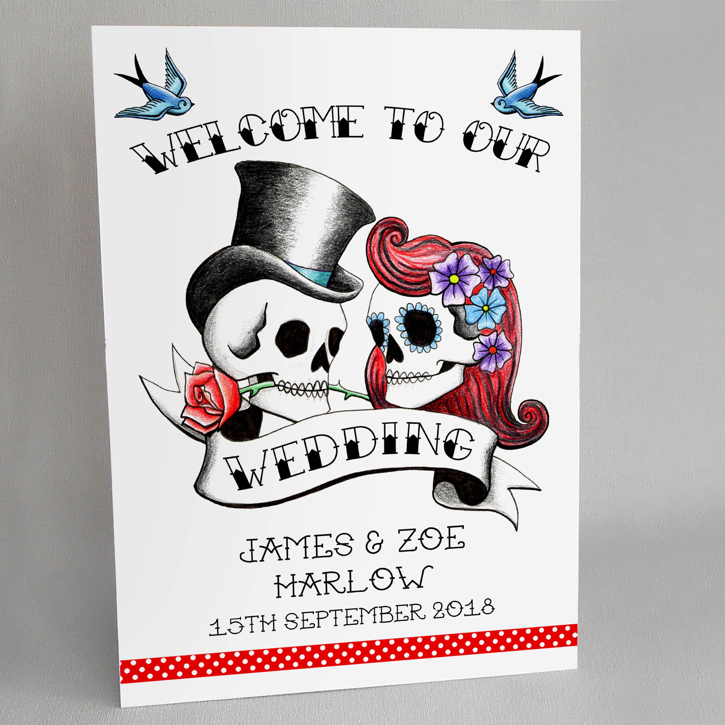 Rockabilly Skulls Wedding Welcome Sign