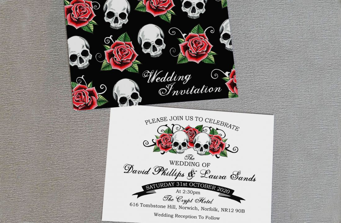 Skulls and roses invitations