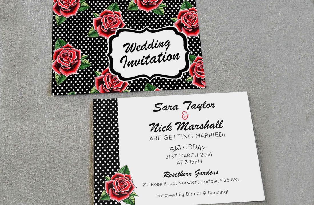 rockabilly roses wedding invitations