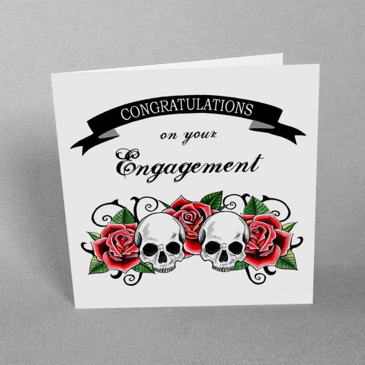 Engagement Card Skulls and Roses