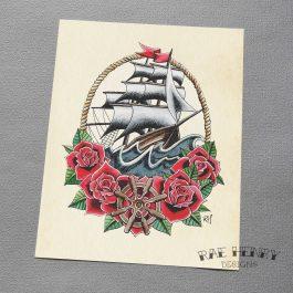 tattoo ship art print