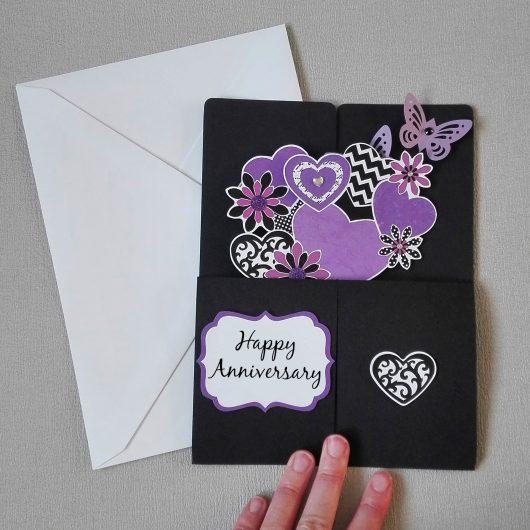Purple Flowers Pop-up Anniversary Card