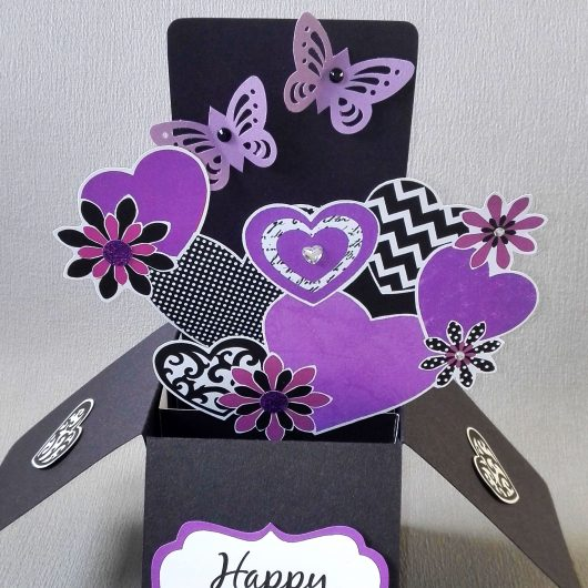 Purple Flowers Pop-up Anniversary Card