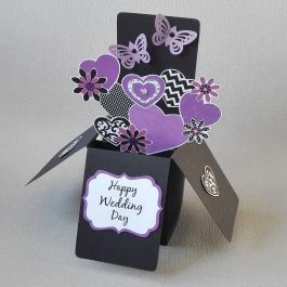 Purple Flowers Pop-up Wedding Card
