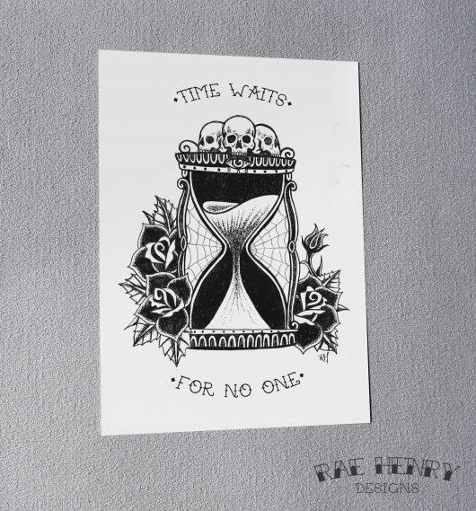 Hourglass tattoo art print