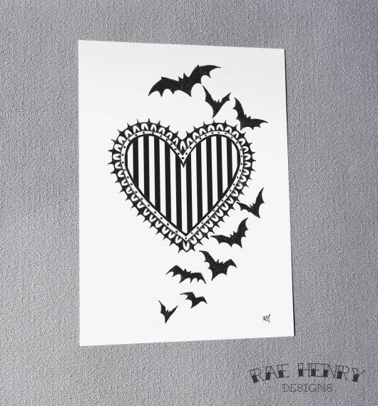 Bats Heart Art Print