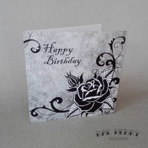 Black Rose Birthday Card