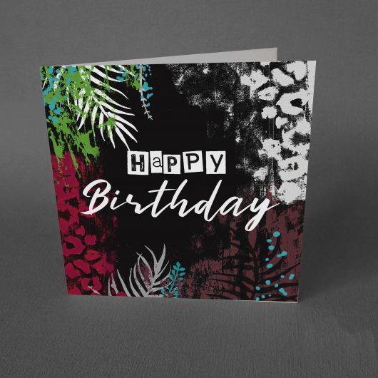 tropical grunge birthday card