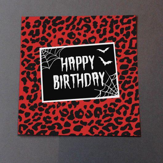 Red Leopard Print Birthday Card