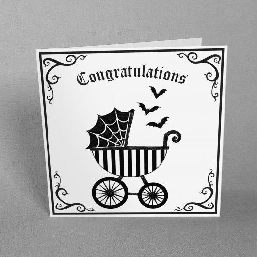 Goth New Baby Card Spooky Pram