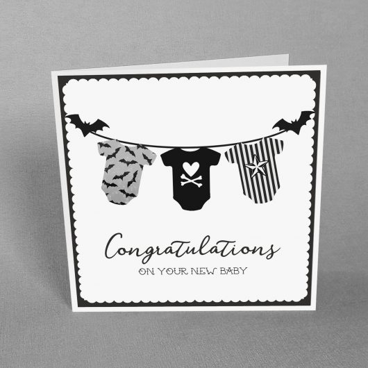 Goth New Baby Card Spooky Baby Grows