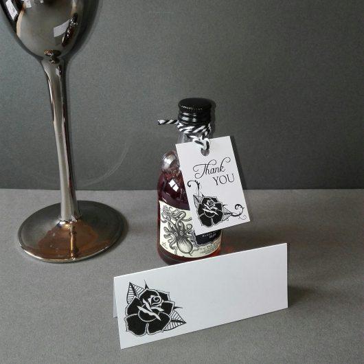 Black Rose Favour Tags