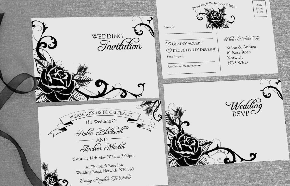 black rose wedding invitations