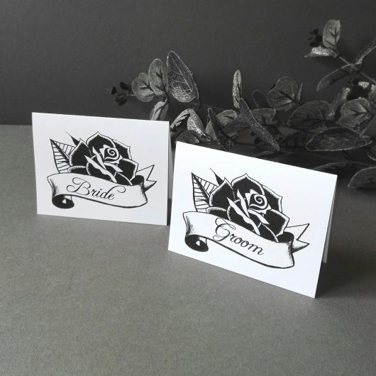 Black Rose Place Cards