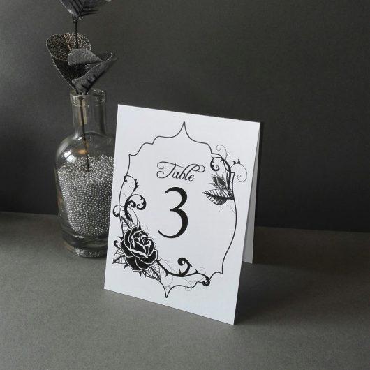 Black Rose Table Numbers