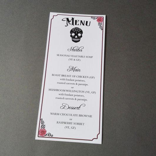 Gothic Sugar Skulls menu