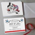 rockabilly skulls wedding invitations