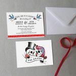 rockabilly skull wedding invitations